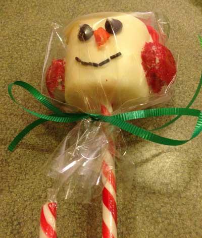 Marshmallow Snowman Sucker
